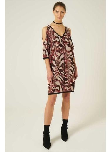 Mimoza Yılan Desenli V Yaka Omuz Açık Elbise-Multi Renkli